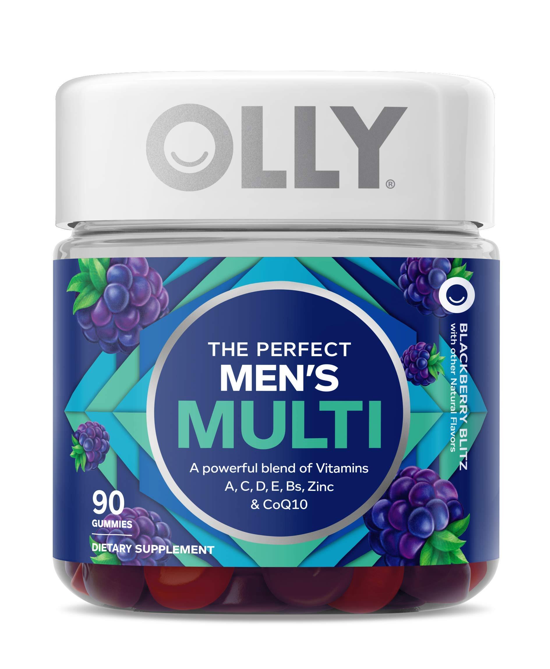 OLLY Men's Multivitamin Gummy, Vitamins A, C, D, E, B, Zinc, Adult Chewable Supplement, Blackberry Flavor, 45 Day Supply - 90 Count