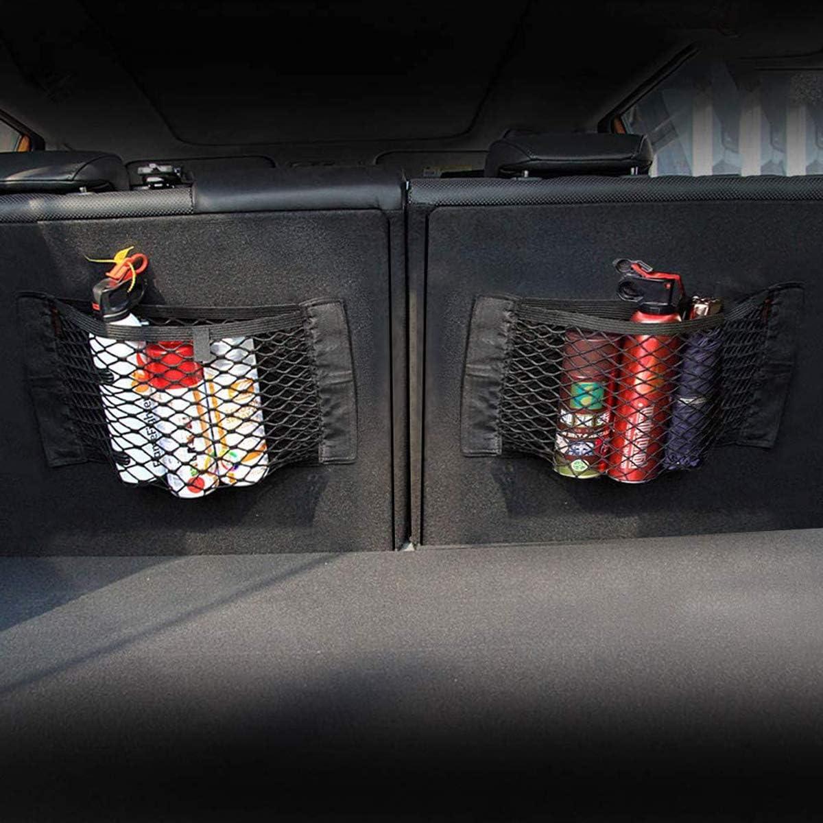 40cm mengger 4Pcs Red de Almacenamiento Coche ba/úl Trasero Trunk Storage Net Almacenamiento de Malla Botellas comestibles Bolsa Pocket Organizer con Velcro 25 35cm,25