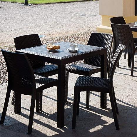 Tavoli Sedie Bar.Dimaplast Set Resina Rattan Tavolo 4 Sedie Bar Giardino Terrazzo Locali Balcony Top Antracite