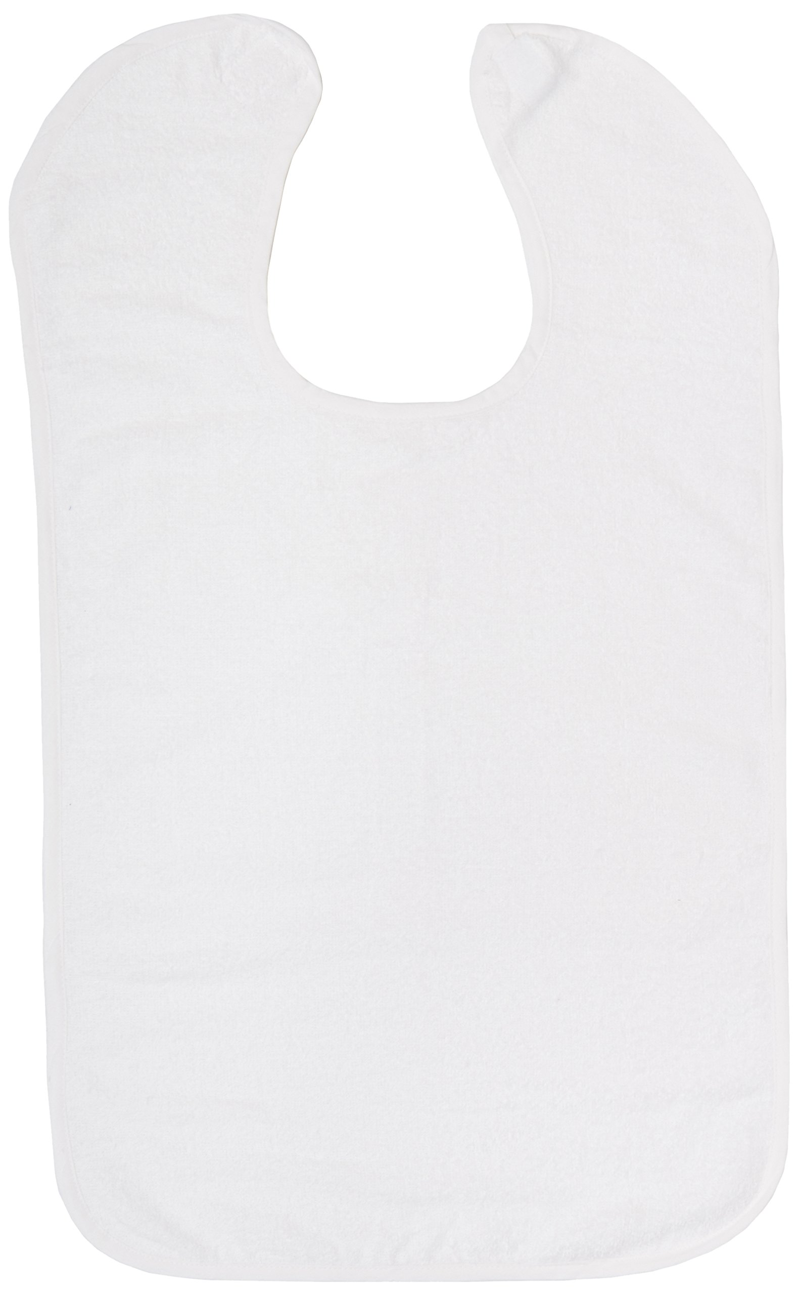 Sammons Preston Terry-Cloth Food Catcher, Pack of 3, White Jumbo Bib,16''W x 25''L, Lightweight Adult Bib Keeps Clothes Clean for Elderly, Disabled, and Messy Eaters, Velcro Strap Secures Bib On