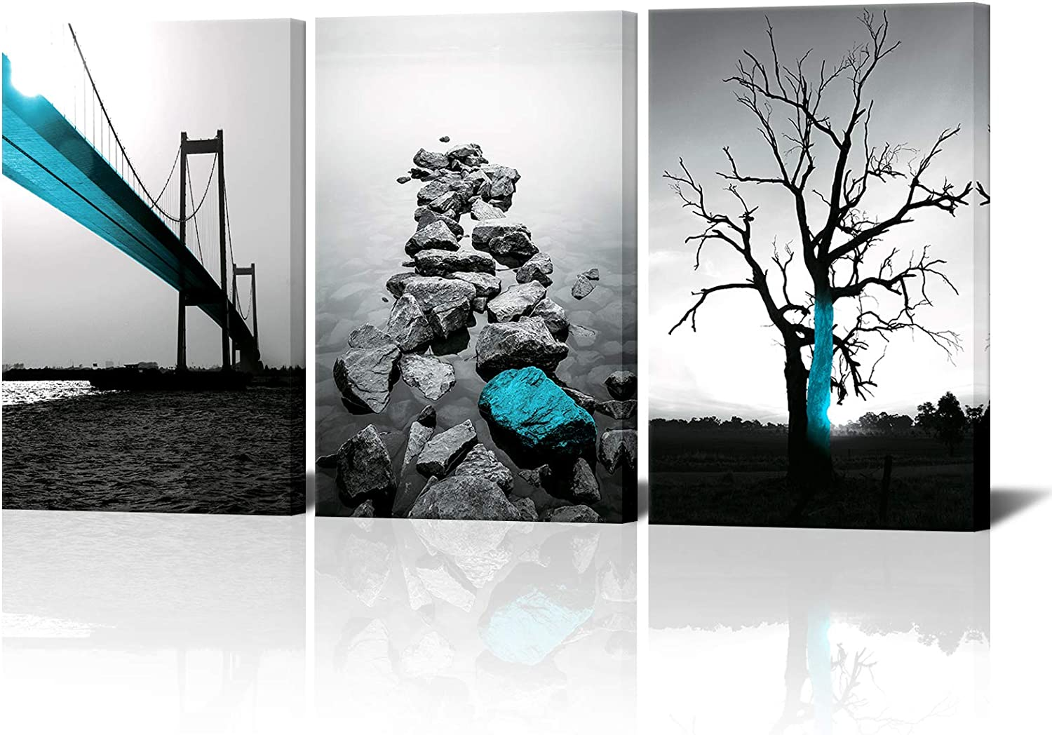 Biuteawal - Black and White Tree Canvas Wall Art Blue Bridge Picture Peaceful Stone Lake Landscape Painting Print on Canvas Contemporary Artwork for Home Office Living Room Bedroom Decor