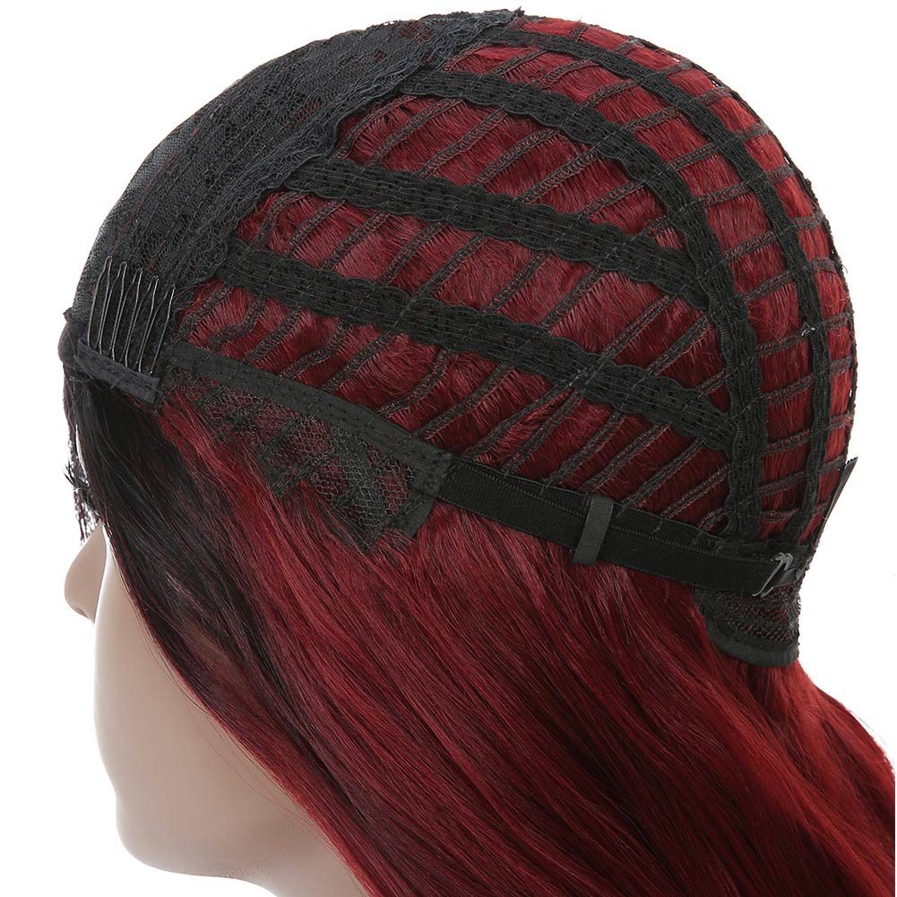 Armmu 28'' Red Ombre Long Body Wave Hair Full Wigs No Lace Wigs for Women 100% Synthetic Hair Burgundy Black Roots Wig (OTBUG) by Armmu (Image #9)