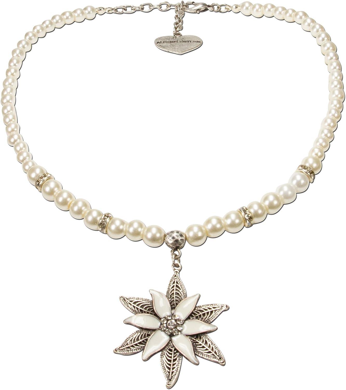 Mujer Alpenflüstern perlas-collar del traje glamour-Edelweiss crema DHK14400011