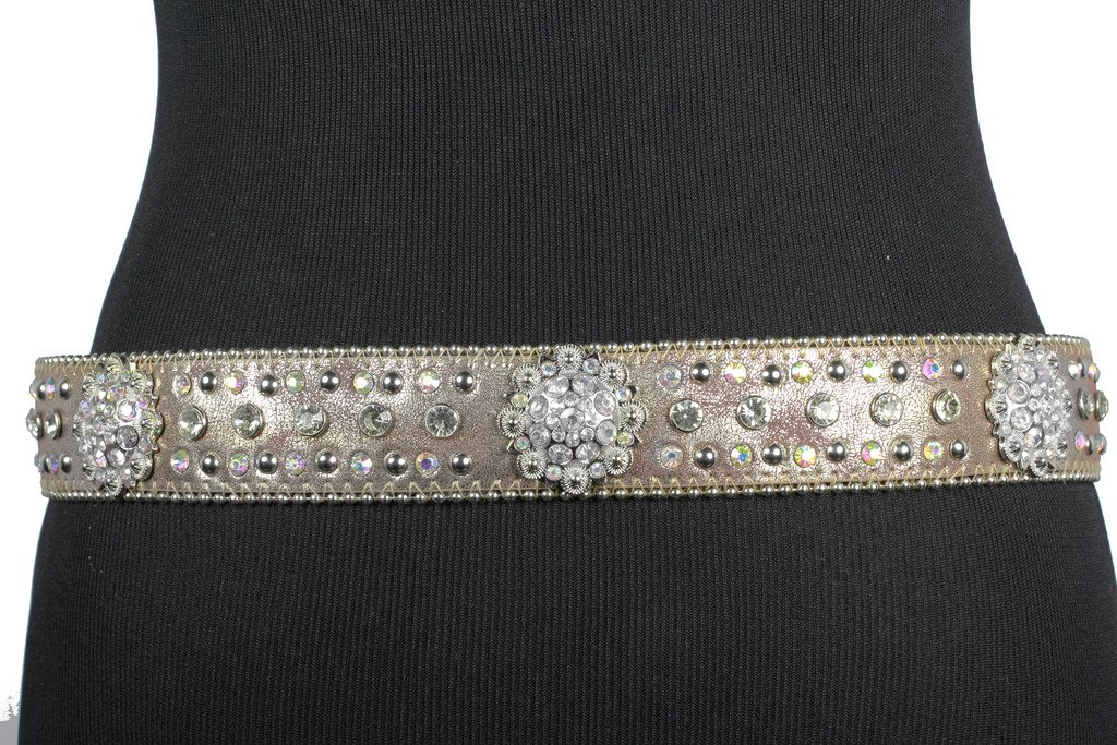 Deal Fashionista BLACK BERRY Western Rhinestone Bling Studded Removable Buckle Belt