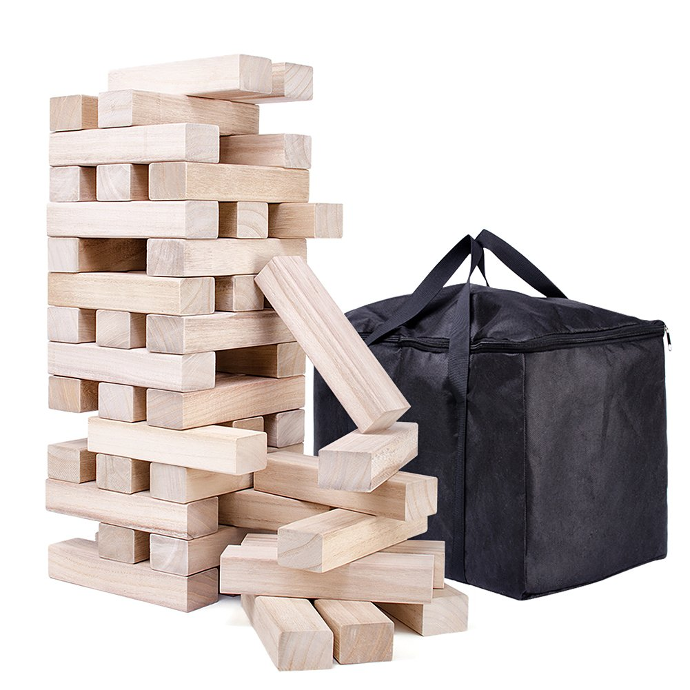 NEOWOWS Giant Stacking Games for Kids Hardwood Tumbling Timbers Building Tower Camping Games with Carrying Bag 48 Pieces
