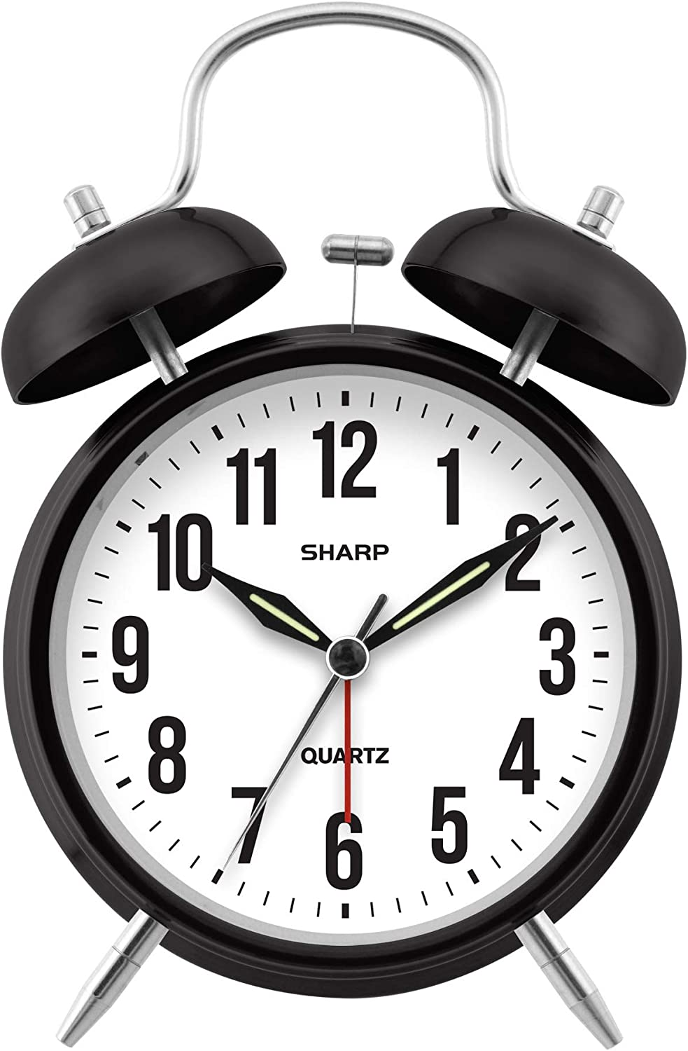 Sharp Black Twin Bell Alarm Clock – Perfect for Heavy Sleepers – Loud Bell Alarm – Glow in Dark Hands – Backlit on Demand – Battery Operated – SPC843