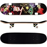 FunTomia Skateboard mit MACH1 ABEC-11 Kugellager Rollenhärte 92A und 9-lagigem Ahornholz (Es stehen verschiedene Farbdesigns zur auswahl)
