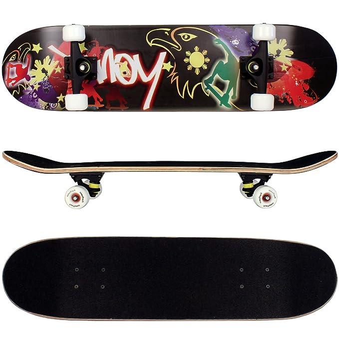 31 opinioni per Skateboard FunTomia® con cuscinetti a sfera ABEC-11 e ruote 92A in legno d'acero
