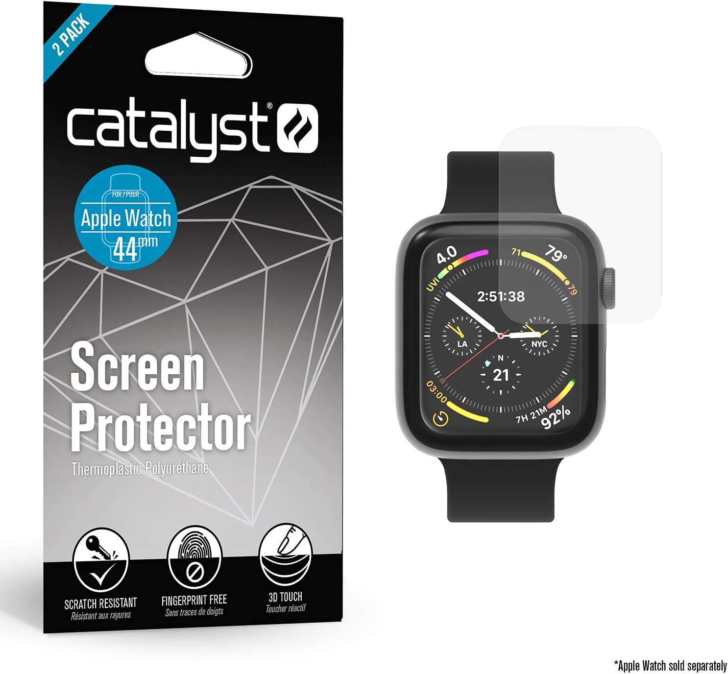 Catalyst 2X Screen Protector for Apple Watch Series 4 44mm Fingerprint Free, Microfiber Cleaning Cloth Included - iWatch Apple Accessories