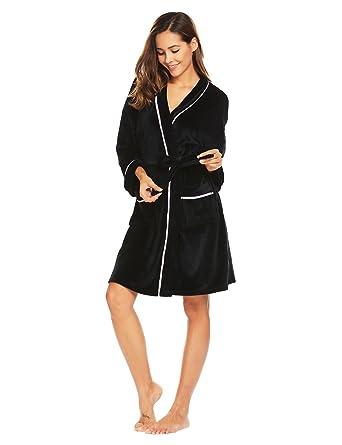 792f52789c eshion Womens Kimono Robe Plush Short Long Sleeve Terry Cloth Robe ...
