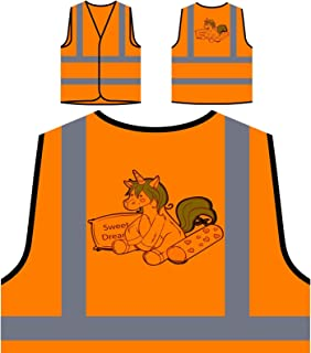 Unicorno Dolce Sogni Personalizzato Hi Visibilità Giacca Gilet Arancione di sicurezza p679vo