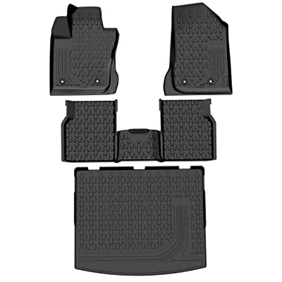 OEDRO Floor Mats & Cargo Liners Set for 2020-2020 Jeep Compass, Durable TPE All Weather Custom Fit Slush Mat , Includes Front, Rear and Cargo Slush Mat Full Set Liners: Automotive