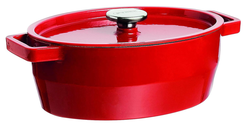 Pyrex 33 cm Slow Cook Enamelled Cast Iron Oval Casserole, 5,8L, Red