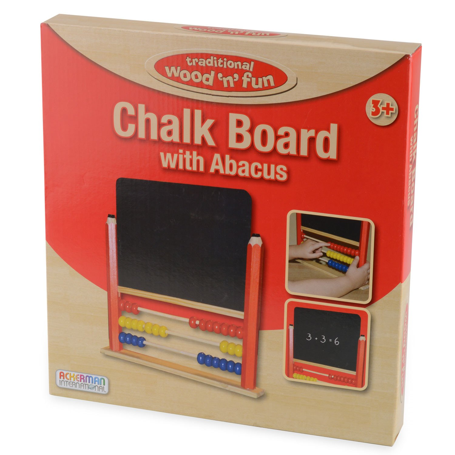 Childrens Wooden Abacus Kids Chalk Board Chalkboard Counting Drawing Toy Ackerman International