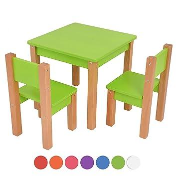 Kindertisch Mit 2 Stühle 3 Tlg Set Sitzgruppe Für Kinder Grün