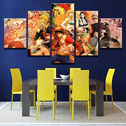 Home & Garden 5 Piece Hd Wall Art Anime Poster Picture One Piece Monkey D Luffy Poster Wall Painting For Home Decor