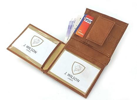 Funda RFID bloqueo J Wilson marrón para hombre auténtica de alta calidad piel tipo cartera bolso de mano caja de regalo: Amazon.es: Equipaje