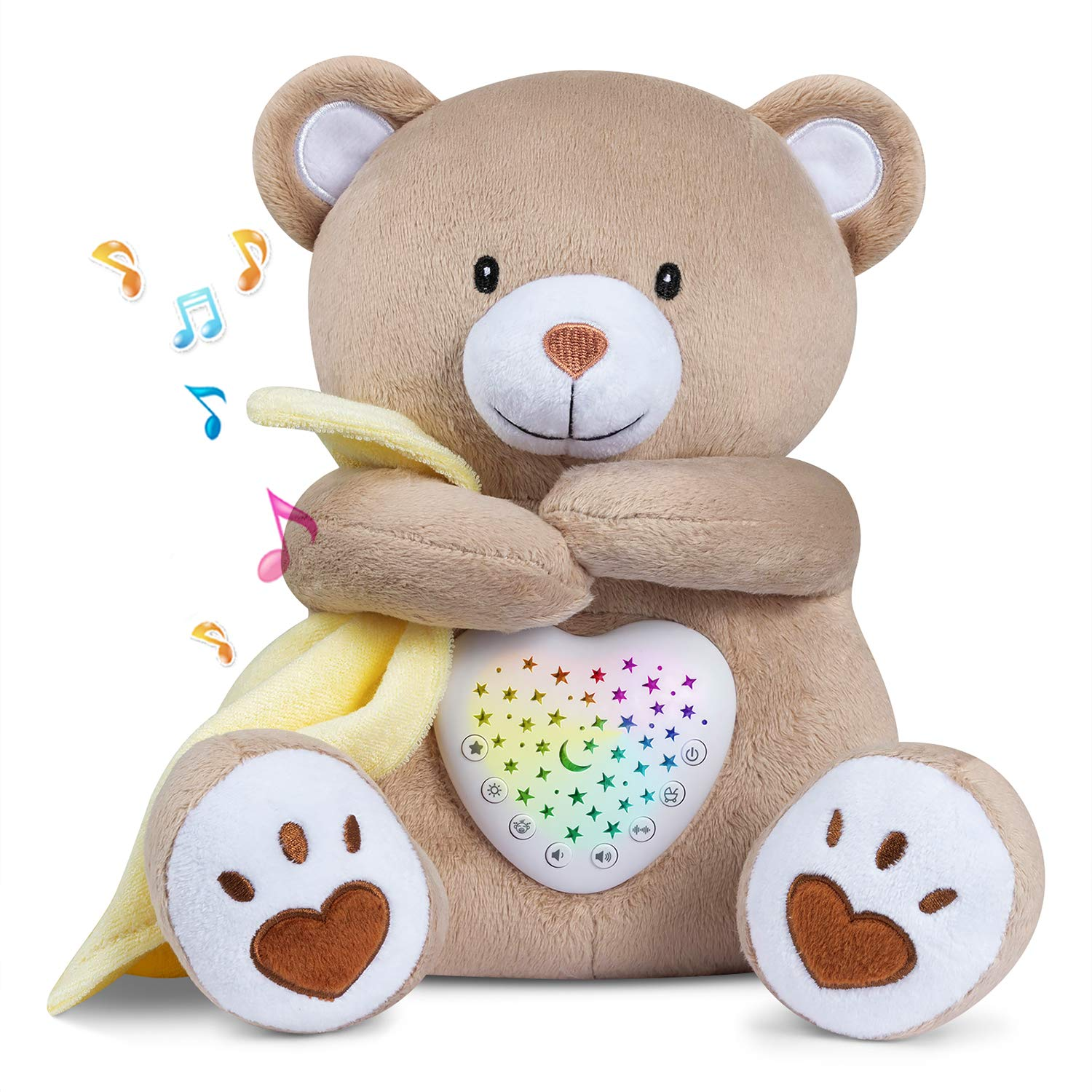 BEREST Rechargeable Sleep Soother Heartbeat Dreamy Bear, Baby Cry Sensor Lullabies & Shusher White Noise Machine, Nursery Decor Night Light Projector, Toddler Crib Sleeping Aid Baby Shower Gifts Teddy