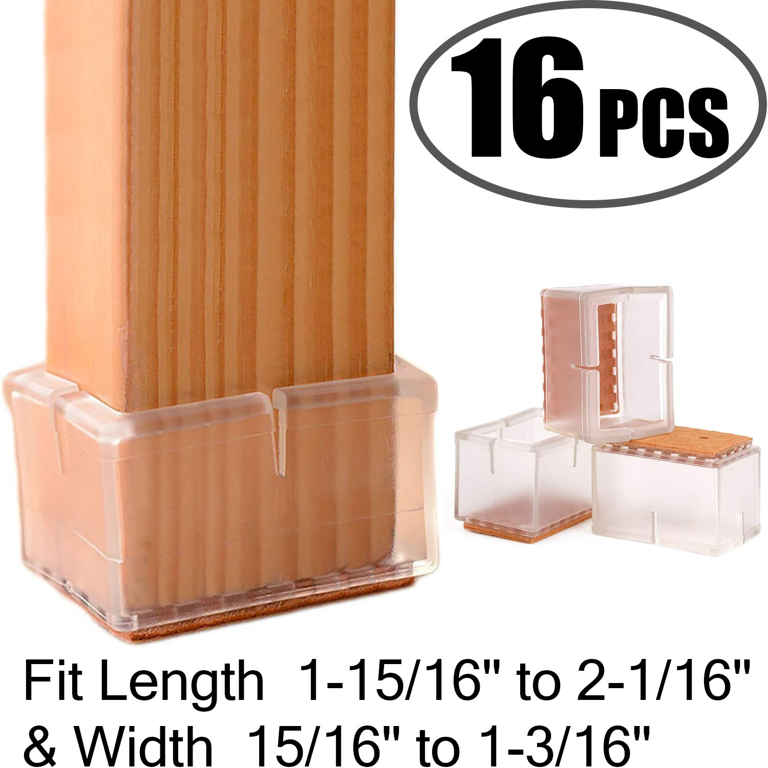 "Chair Leg Floor Protectors Rectangular Fit Length 1-15/16"" to 2-1/16"" & Width 15/16"" to 1-3/16"" Large Chair Leg Caps Silicone Table Chair Feet Protectors with Felt Pads (16Pack)"