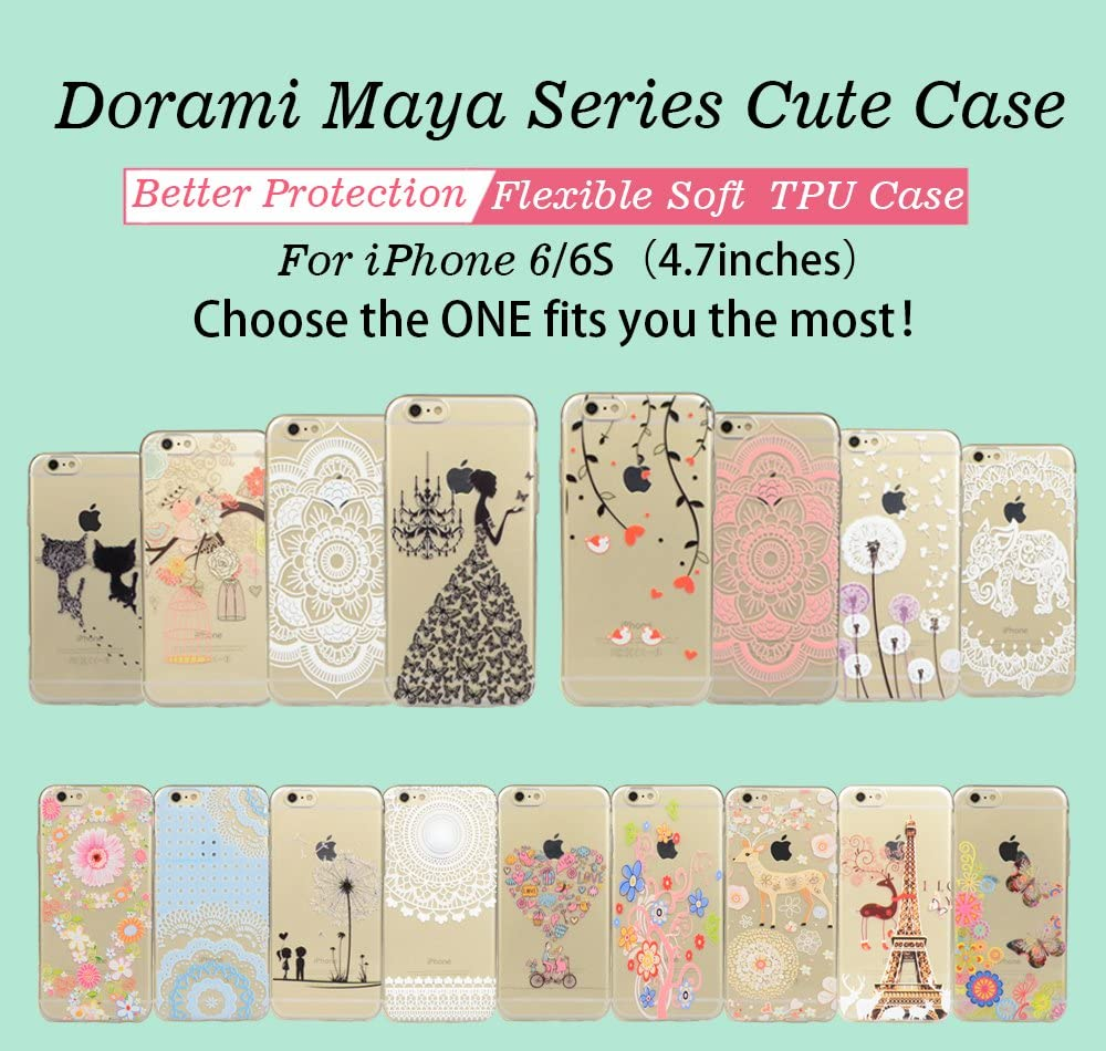 Doramifer Clear Soft TPU Case with Delicate 3D Print Protective Bumper Slim Case for iPhone 6//6S iPhone 6S Case iPhone 6 Case Ultra Thin Wandering Cats Maya Series