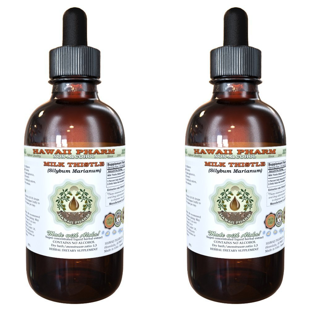 Milk Thistle Alcohol-FREE Liquid Extract, Organic Milk Thistle (Silybum marianum) Dried Seed Glycerite Natural Herbal Supplement, Hawaii Pharm, USA 2x4 oz