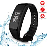 TODAY 60% off, Fitness Tracker, Smart Watch Activity Sports Tracker with Pedometer Blood Pressure Monitor Heart Rate Blood Oxygen Sleep Monitor Calorie Step Counter SMS Reminder Smart Bracelet Band