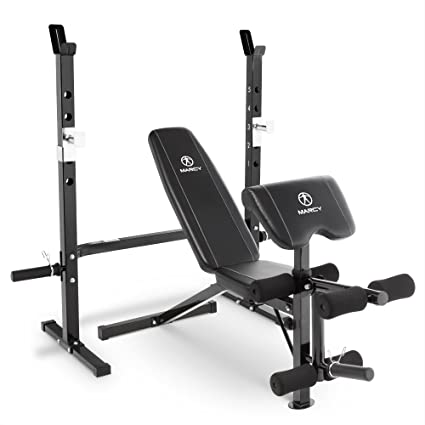 High Quality Marcy 2 Pc Olympic Weight Bench With Bar Catches, Leg Developer U0026 Preacher  Curl