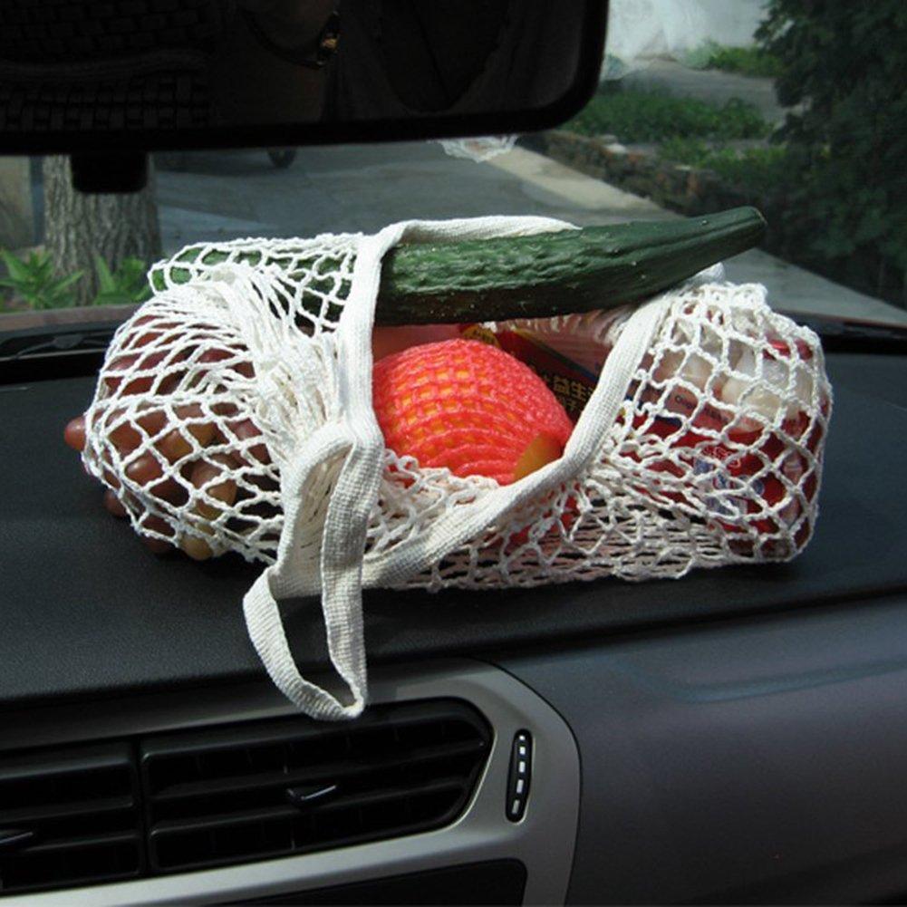 Practical Short Cotton Net Bag Super Market Eco-Friendly Shopping Bag White