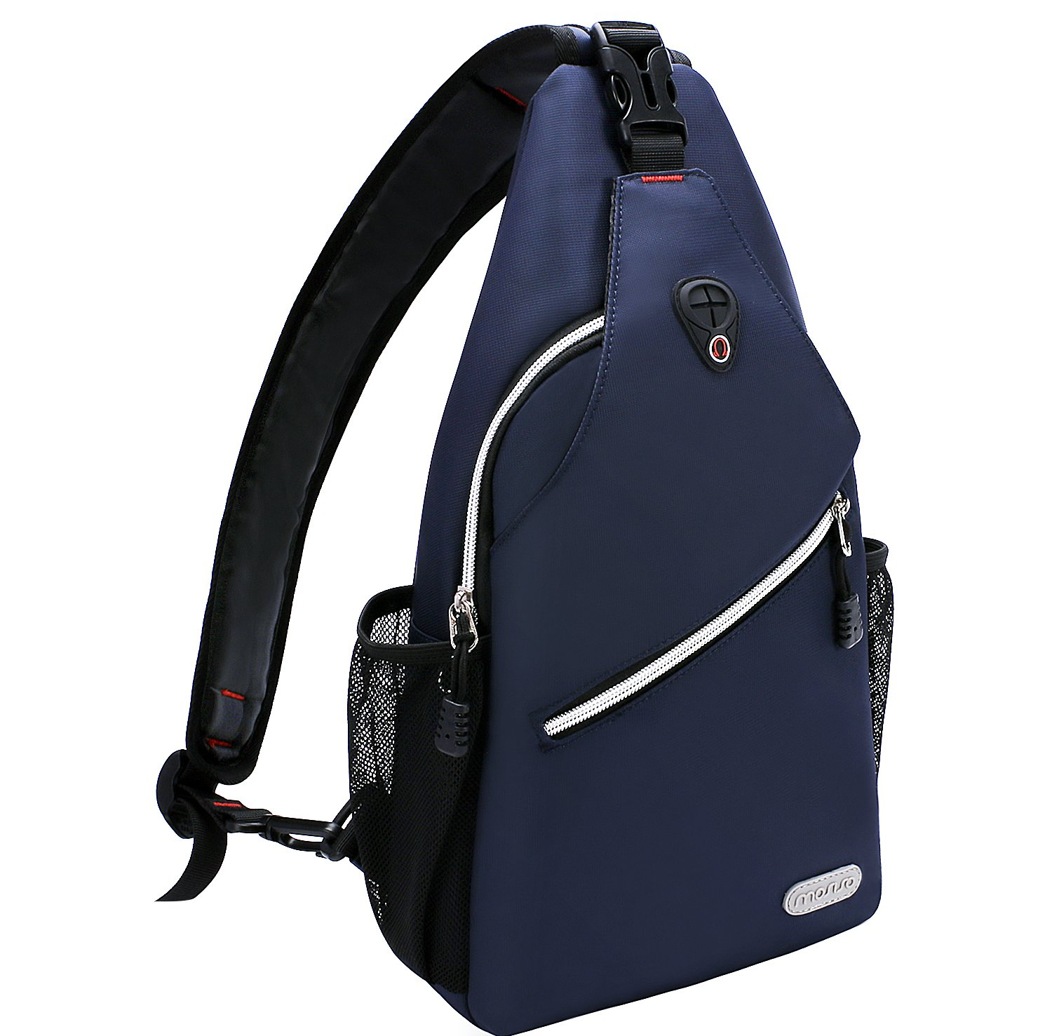 MOSISO Sling Backpack, Polyester Crossbody Shoulder Bag for Men Women Girls Boys, Navy Blue