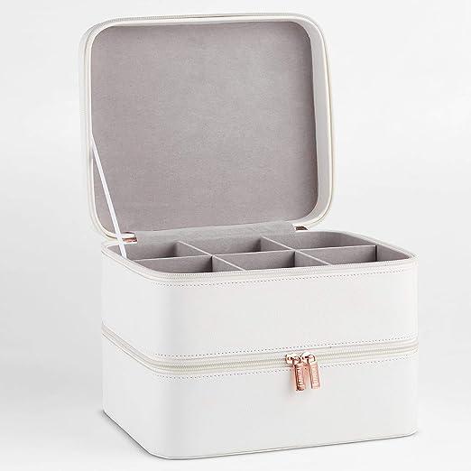 Beautify Estuche de Cosméticos de Cuero Sintético Blanco de 2 Niveles - Incluye Compartimento de Rejilla con Divisores Extraíbles – para joyería, Maquillaje, cosméticos, brochas y más.: Amazon.es: Hogar