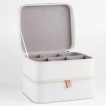 Beautify Estuche de Cosméticos de Cuero Sintético Blanco de 2 Niveles - Incluye Compartimento de Rejilla con Divisores Extraíbles – para joyería, ...