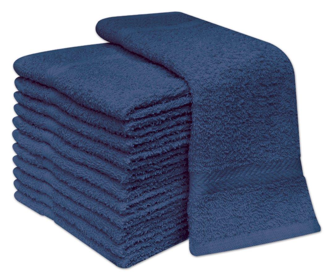 Deluxe - Juego de 12 toallas de cara, 100% algodón, 30 x 30 cm, algodón, negro, 12.00