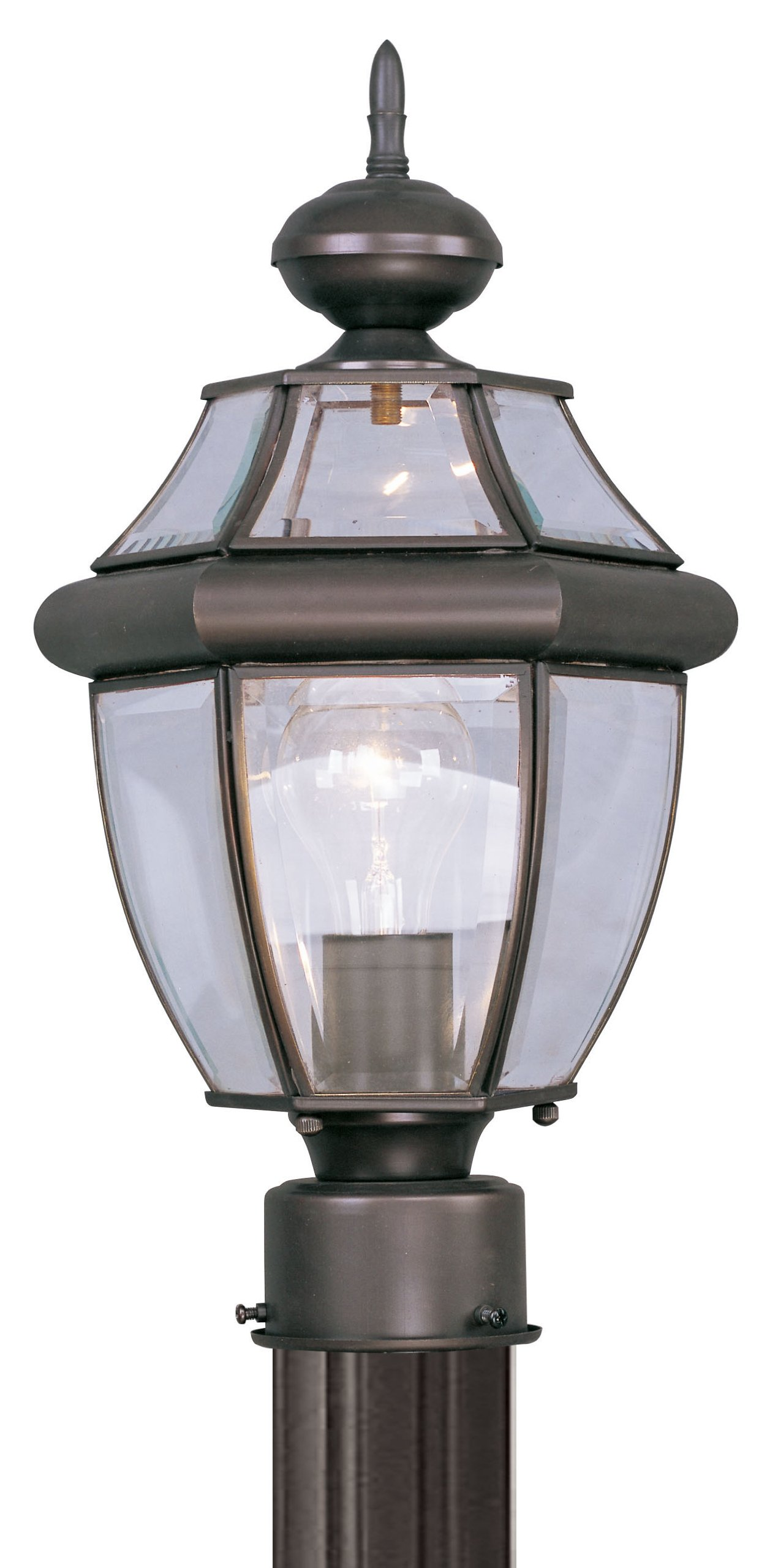 Livex Lighting 2153-07 Outdoor Post with Clear Beveled Glass Shades, Bronze
