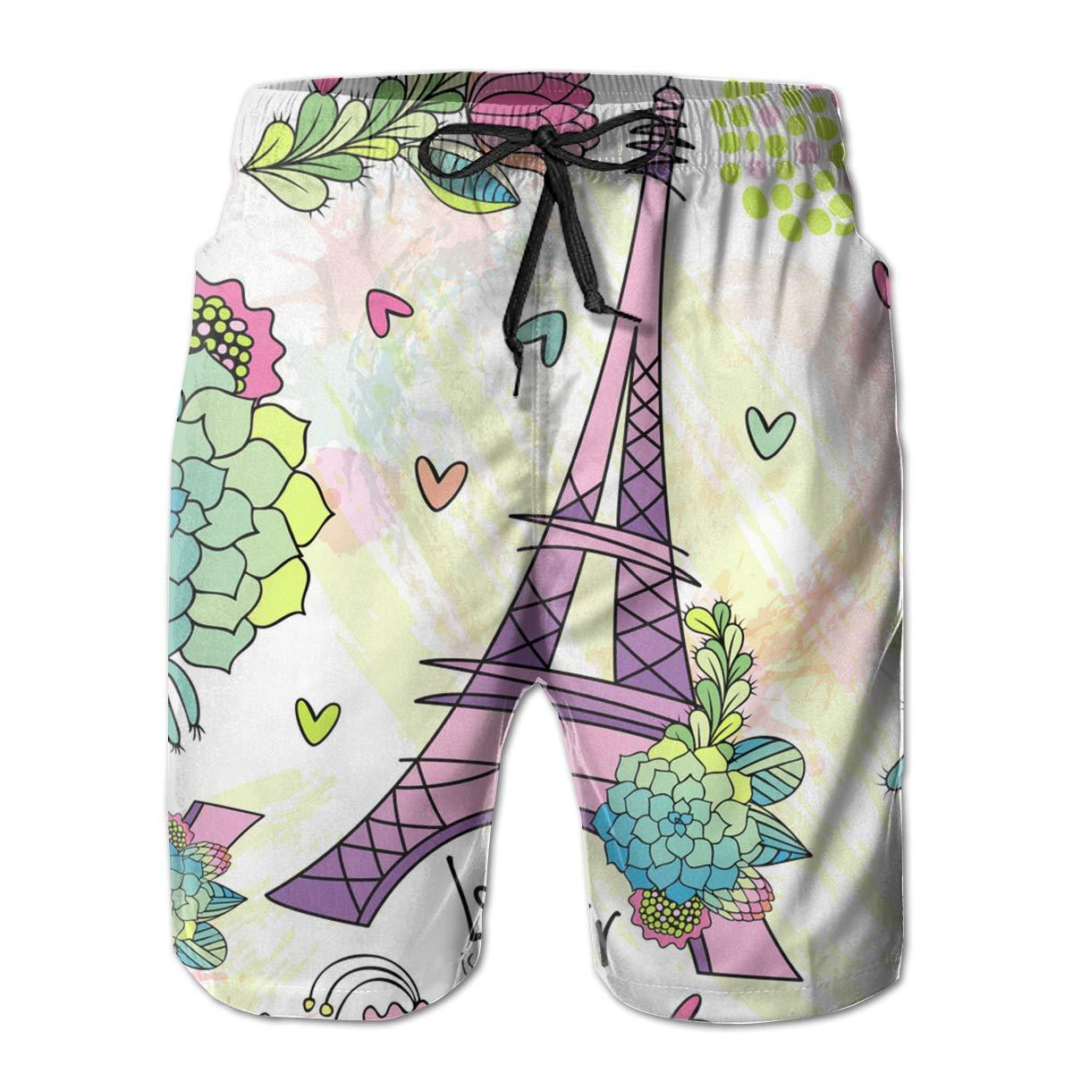 SARA NELL Mens Swim Trunks Floral Pattern with Eiffel Tower Surfing Beach Board Shorts Swimwear