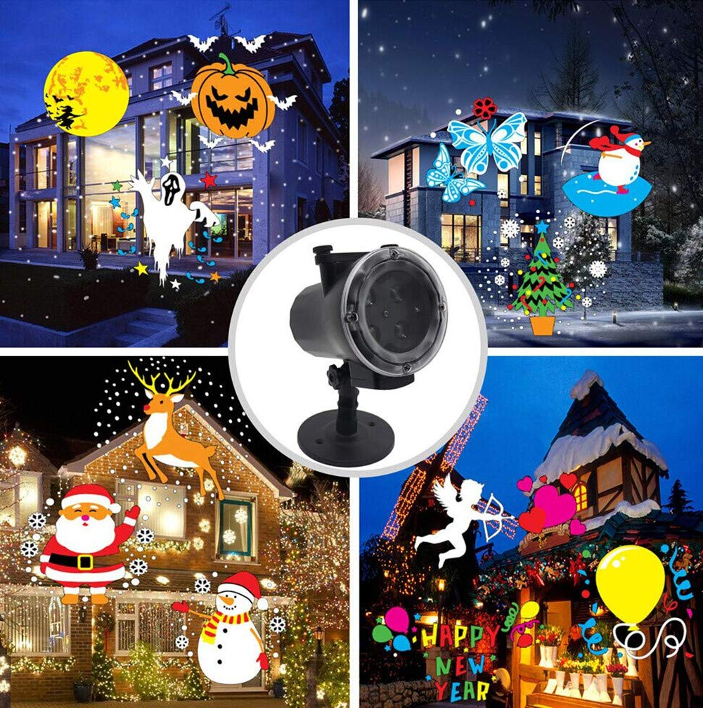 H+K+L Christmas Animation LED Snowflake Projection Lamp with Remote Control Snow Light Stage Light (Black)