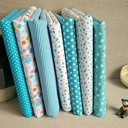 Tela de algodón para patchwork, 7 unidades, 50 x 50 cm, diseño de lunares, para patchwork, tela de algodón, algodón, Como se muestra en la imagen, talla única: Amazon.es: Hogar
