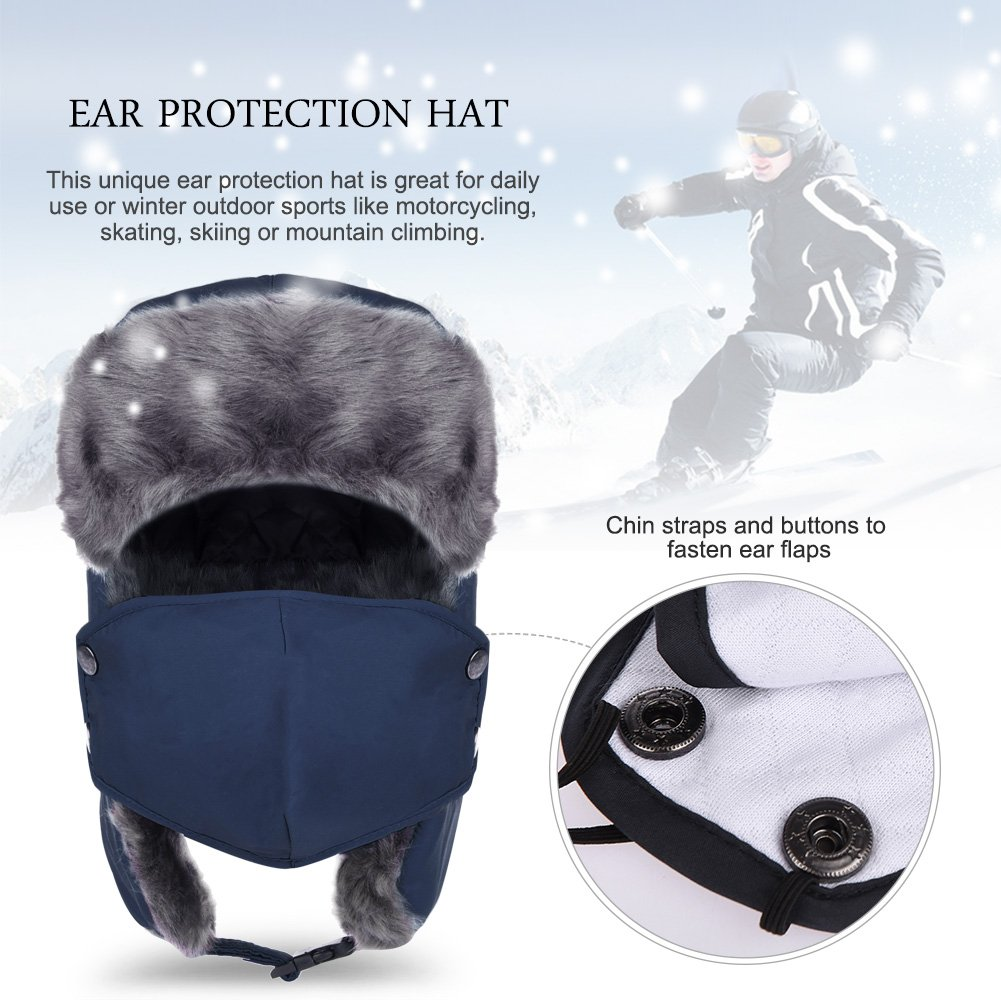 Vbiger Trapper Hat with Ear Flaps Nylon Windproof Winter Warm Hunting Hats for Men & Women (Navy Blue) by VBIGER (Image #2)