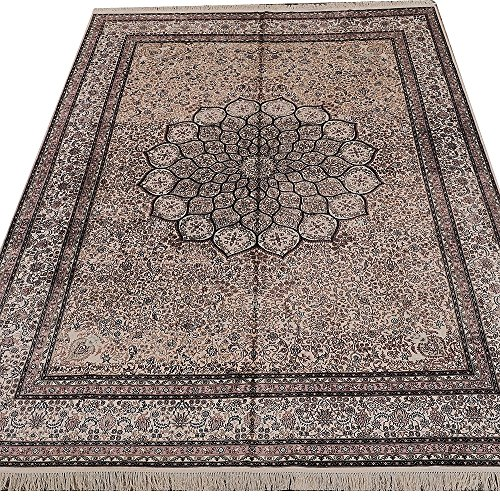 Yilong 9'x12′ 400Lines Antique Handmade Silk Rugs for Home Oriental Persian Floral Medallion Carpet