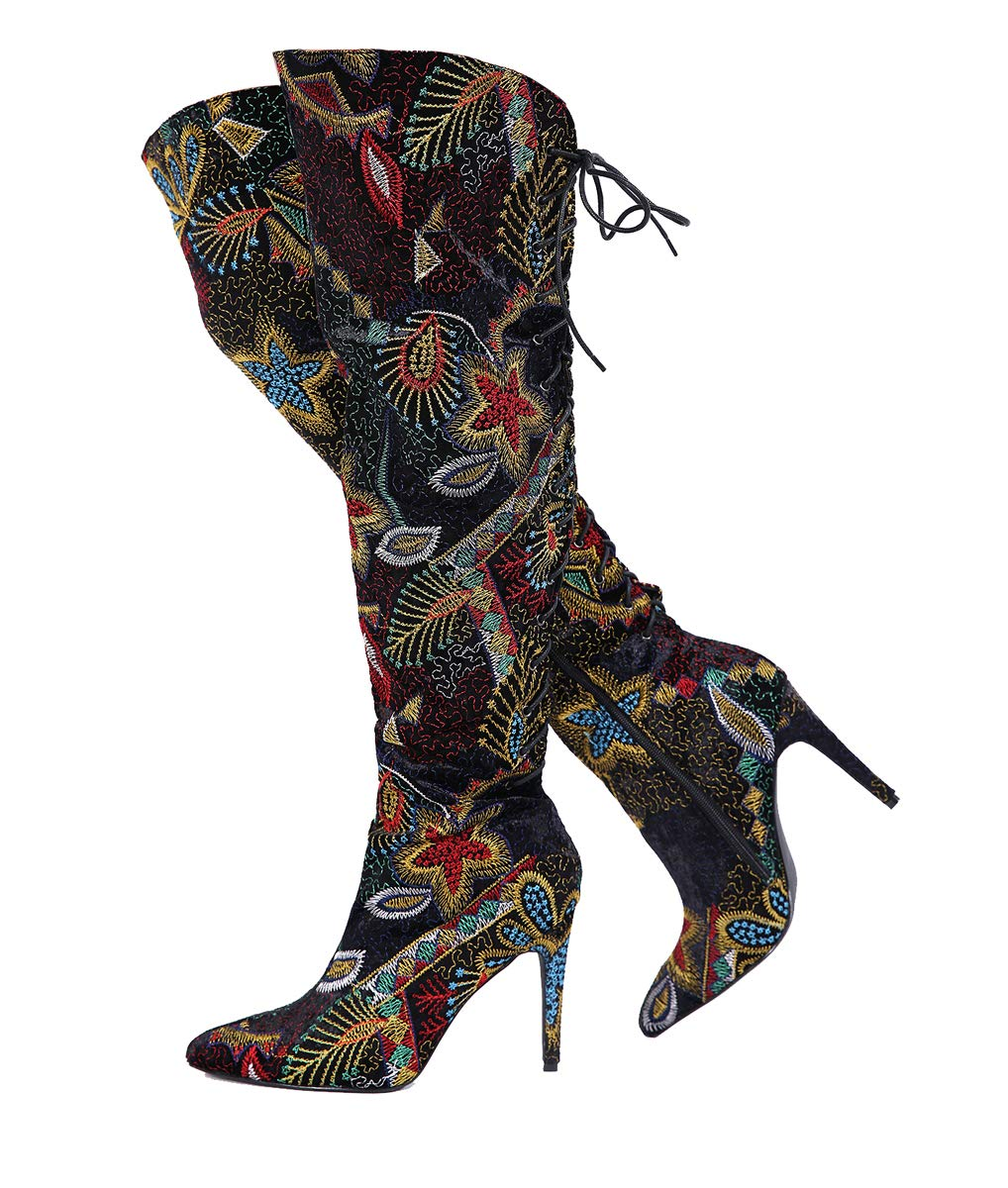 Stupmary Winter Women Boots Ethnic Over The Knee High Embroidery Print Stilleo Heels Pointed Toe Thigh Bootie by Stupmary