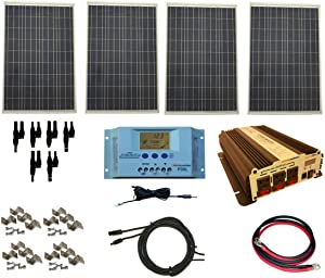 WindyNation Complete 400 Watt Solar Panel Kit with 1500 Watt VertaMax Power Inverter RV, Boat, for Off-Grid 12 Volt Battery