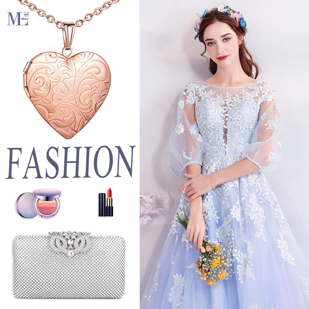Vintage Heart Flower Photo Picture Locket Pendant 20 inch Chain Necklace for Women with Box Greeting Card