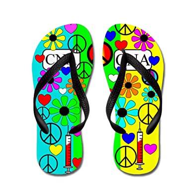 45972c086 Amazon.com  CafePress - Peace Love Nursing Assistants 5 - Flip Flops ...