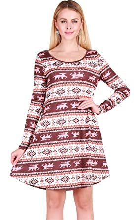 festival christmas eve fair isle baroque ethnic tribal aztec mini babydoll swing trapeze maternity dress burgundy - Christmas Maternity Dress