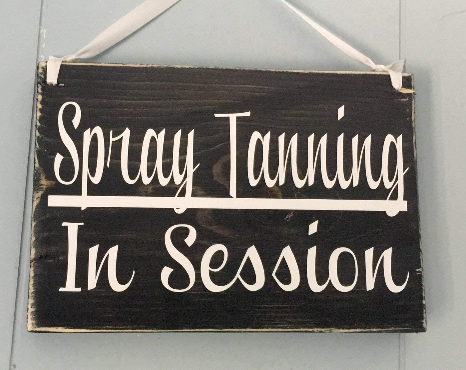 CELYCASY 8x6 Spray Tanning in Session Custom Wood Sign in Progress Tan Tanning Salon Airbrush Door Plaque