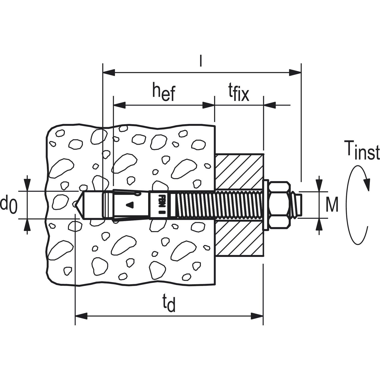 fischer 40945 FBN II (10/160) 10x235 mm Bolt Anchor, Electro Zinc Plated by Fischer