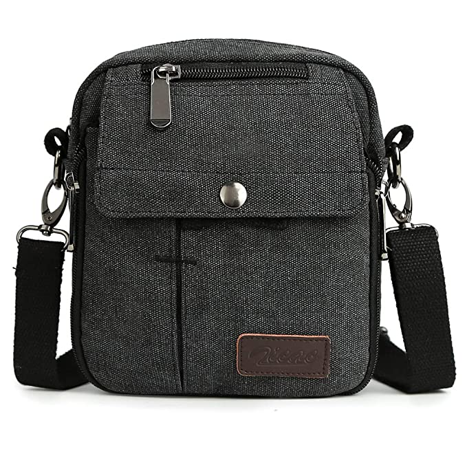 bd18a04e8c Zicac Men s Small Vintage Multipurpose Canvas Shoulder Bag Messenger Bag  Purse Crossbody Shoulder Bag(Black