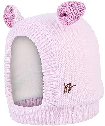 c8a21fe0a5cc La Vogue Bonnet Enfant Bébé Fille Protection Oreille Tricot Chapeau Cagoule  Epais Polaire Visage Hiver Rose