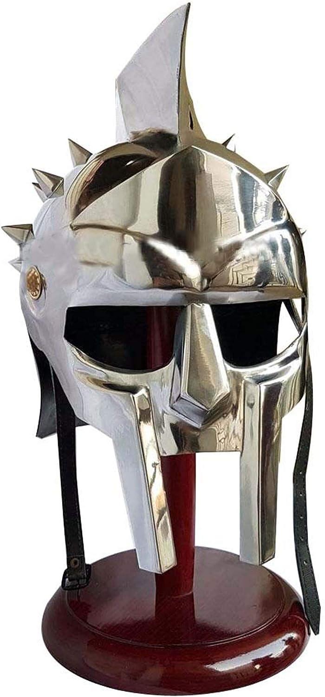 AnNafi® Metal Gladiator Maximus Arena - Casco Protector (69 cm, Circunferencia Interior), Color Plateado