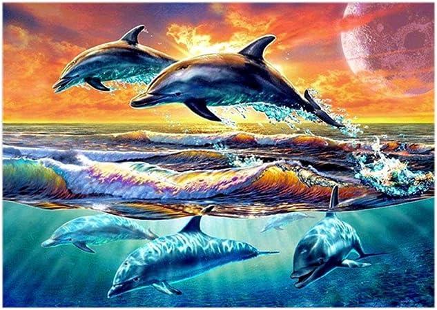 Dolphin Couple Diamond Painting Cross Stitch Mosaic Artwork Canvas Pattern Full