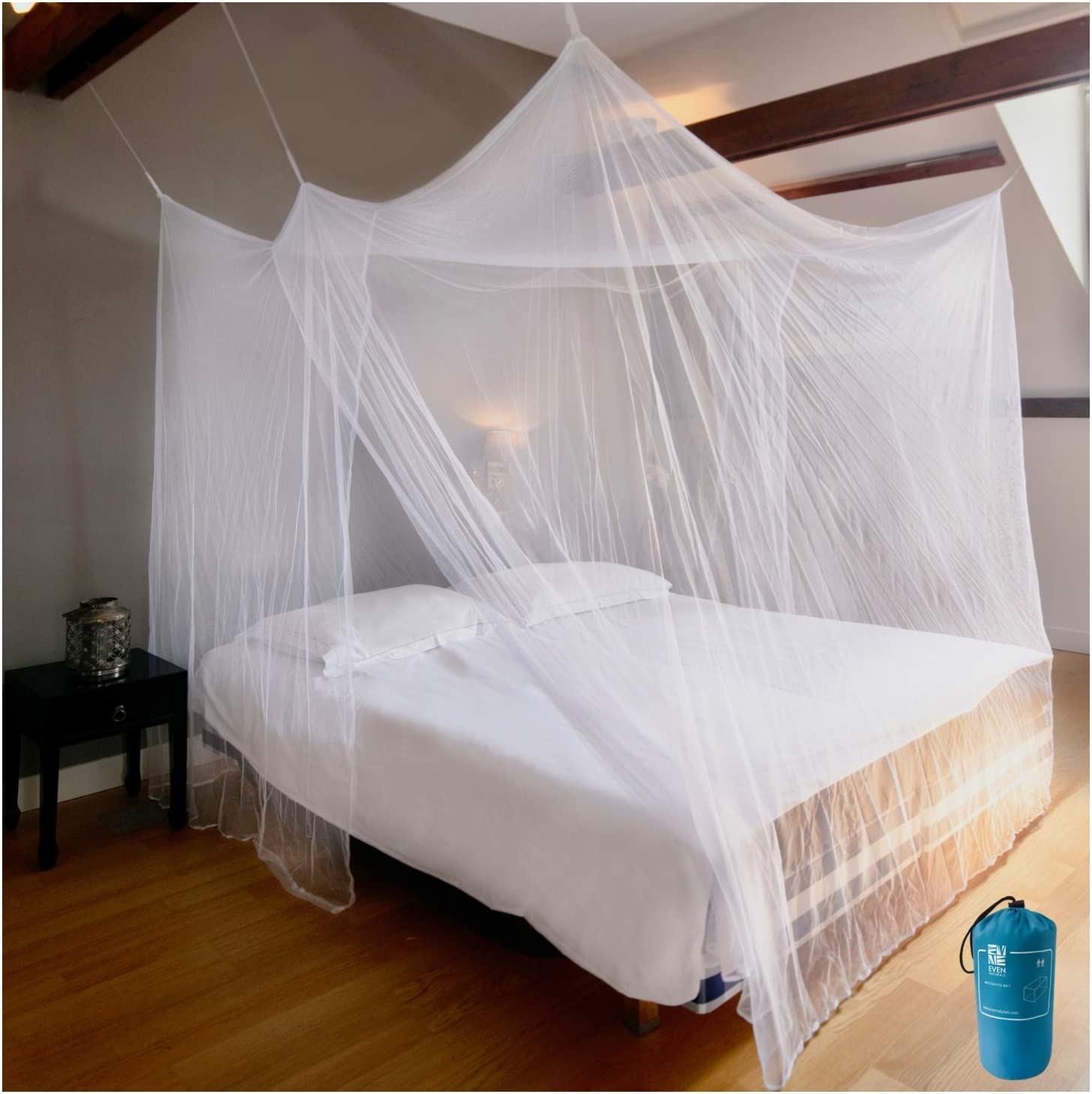 EVEN NATURALS Luxury Mosquito Net for Bed Canopy, XL Tent, Double to King, Camping Screen House, Finest Holes Mesh 300, Square Netting Curtain, 2 Entries, Easy to Install, Hanging Kit, Storage Bag…: Health & Personal Care
